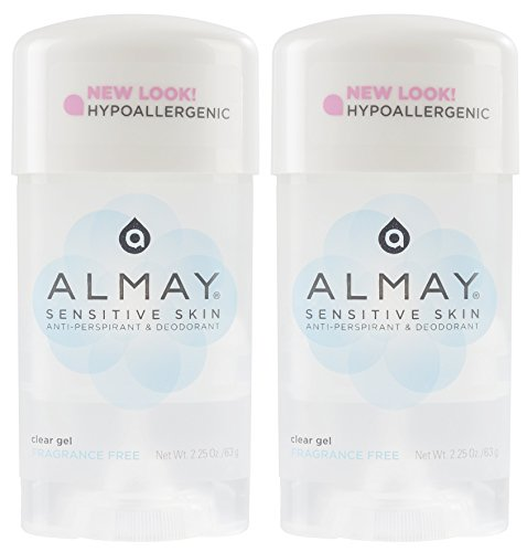 Almay Sensitive skin Clear Gel, Anti-Perspirant & Deodorant, Fragrance Free, 2.25-Ounce Stick (Pack of 2)