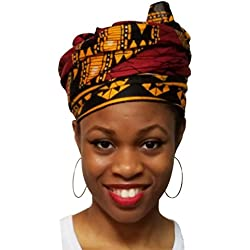 Burgundy Red African Print Head Wrap