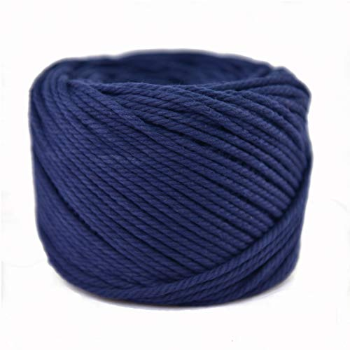 (Navy, 4mm x 100m(About 109 yd)) Handmade Decorations Natural Cotton Bohemia Macrame DIY Wall Hanging Plant Hanger Craft Making Knitting Cord Rope Navy Color Macramé Cord