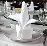 96 pieces White Dinner Napkins for Banquets & Restaurants, Commercial Grade 100% Polyester with Soft Cotton Touch, 20'x20', Made in USA, Wholesale Priced Bulk Packing