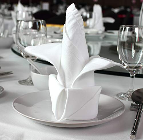 (96 pieces White Dinner Napkins for Banquets & Restaurants, Commercial Grade 100% Polyester with Soft Cotton Touch, 20