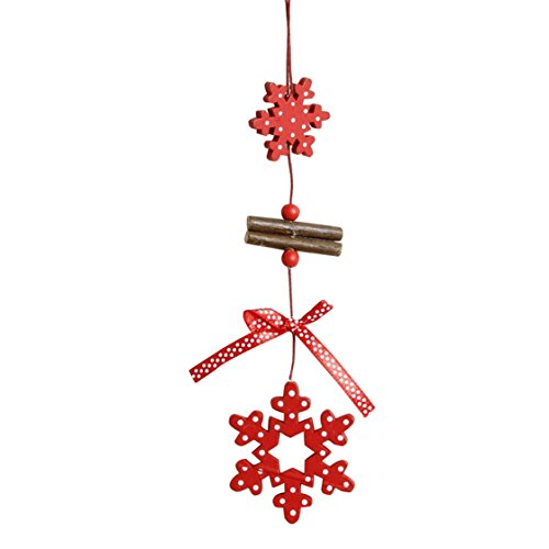 Christmas Decoration Mose✿Christmas Tree red wooden Xmas Hanging Pendant Decoration Gifts Home Decor (D)