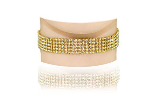 Austrian Crystal Rhinestone Choker Necklace (Jewels Fashion 5-row Clear Austrian Rhinestone Crystal Choker Necklace Party Wedding Prom (rhodium-plated-gold))
