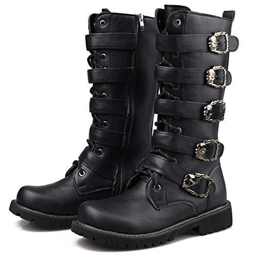Smart.A Men's Casual Lace up Round Toe Fashion Ankle Leather Combat Martin Boots for Men(Black-Lable 38/5.5 D(M) US Men) (Cap Matte Black Military)