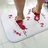 Tuersuer Easy to Assemble Funny Doormat Halloween Terror Blood Footprints Non-Slip Floor Mat Bathroom Kitchen Bedroom Doormat Carpet Decor