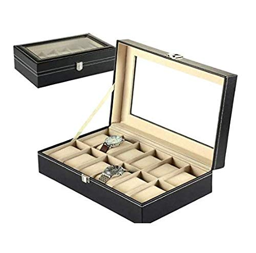 Other 12 Grid Leather Watch Display Case Jewelry Collection Storage Organizer Box Holder        Amazon imported products in Lahore