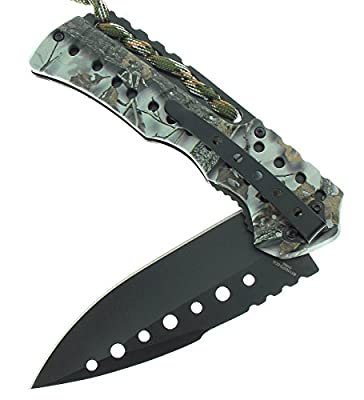 R-Tek RT110373 Partial-Paracord Handle High Performance Spring Assisted Folding Knife With Fluted Blade
