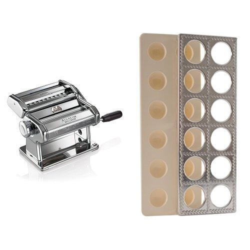 Marcato Atlas Pasta Machine, Stainless Steel, Includes Pasta Cutter, Hand Crank, and Instructions & Norpro Ravioli Maker With Press