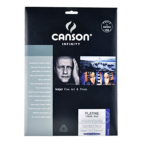 Canson Infinity Platine Fibre Rag Fine Art Paper, 310 Gram , 8.5 x 11 Inch, 10 ()