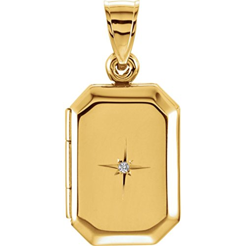 14k Yellow Gold Rectangle Diamond Statement Locket by The Men's Jewelry Store (for HER)