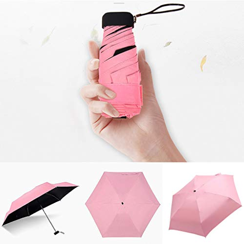 Dergo ☀ Home & Garden Flat Lightweight Umbrella Parasol Folding Sun Umbrella Mini Umbrella (A) (Garden Umbrellas Game)
