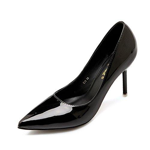 AalarDom Mujer Material Suave Sin cordones Puntiagudo Tacón de aguja De salón Negro-Sintético