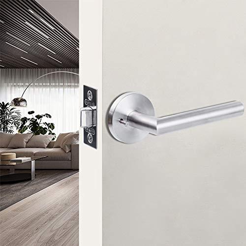 (SUMBIN Modern Round Privacy Door Lever/Door Handle Bed or Bath Lever Satin Stainless Steel, 5.31 inch Handle Length,Adjustable Latch Backset, Lock)