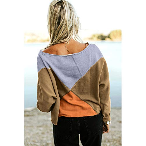 Khaki Sweatshirt Blouse Patchwork T Long Women Rawdah Sleeve Pullover Shirt Strapless Fashion vRXwPH