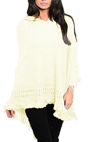 Hooded Fringe (Peach Couture Women's Snug and Warm Crochet Hooded Fringe Wrap Shawl Poncho (Cream))