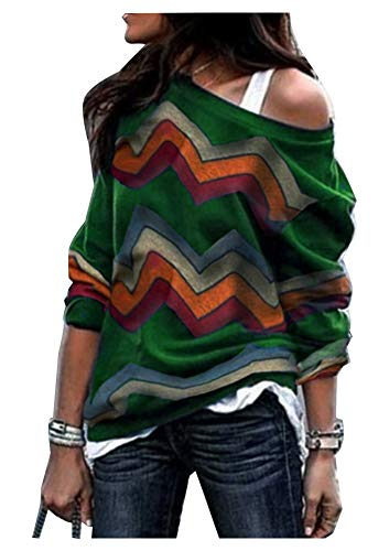 (Women's Zig Zag Sweater Long Sleeve Chervon Pattern Knitted Shirts Tops Army Green S)