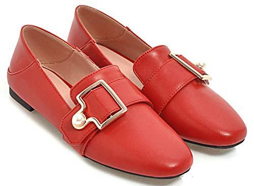 Travail Mocassins Aisun De Cheville Chaussures Femme Perles Rouge Mode ZZqRX