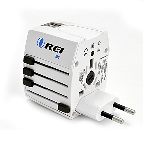 (Orei World Travel Plug Adapter - 2 USB + 1 Universal Outlets - Slots for Europe, Asia, China, Japan, Africa - Perfect for Cell Phones, Tablets, Cameras and More )