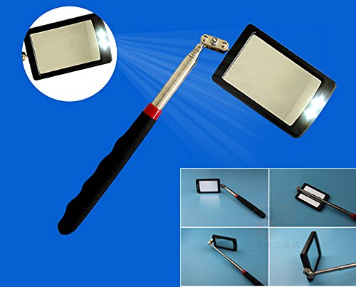 WBOY Inspection Mirror LED Lighted telescoping Mirror Flexible 360 Swivel Adjust Tools for Extra Viewing