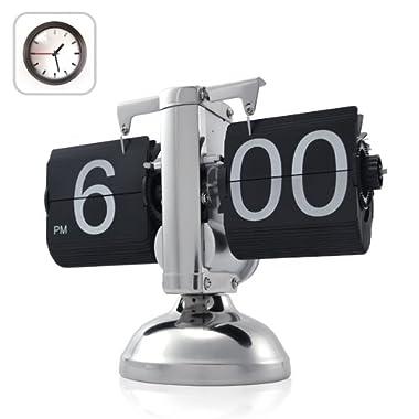 KABB Modern Digital Retro Clock Flip Dоwn Clock Single Stand Clock wіth Internal Operated Gear (Black)