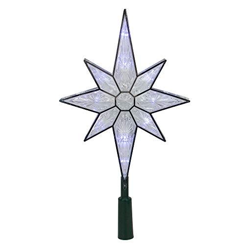KSA 10.5 Lighted LED 8-Point Star Christmas Tree Topper - Pure White Lights