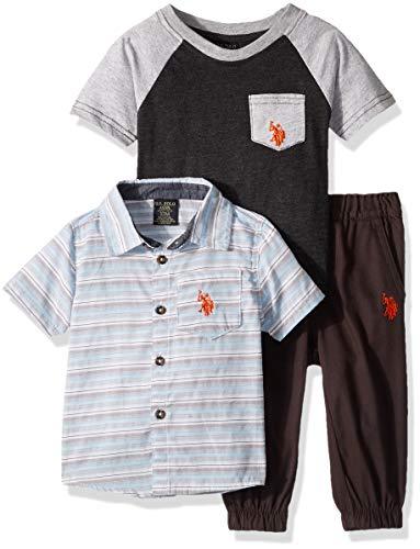 U.S. Polo Assn. Baby Boys Short Sleeve Shirt, T-Shirt and Pant Set