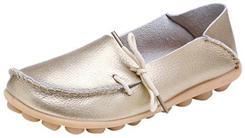 Serene Womens Golden Leather Cowhide Casual Lace up Flat Driving Shoes Boat Slip-On Loafers - Size (Golden Ladies Shoes)