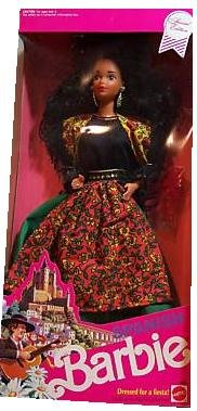 Special Edition Barbie 1991 Dolls of the World 12 Inch Doll Collection - Spanish Barbie Doll Dressed For A Fiesta with Festival Dress, Apron, Shawl, Mantilla, Stockings, Hair Decoration, Shoes, Hairbrush and Doll Stand (Spanish Doll)