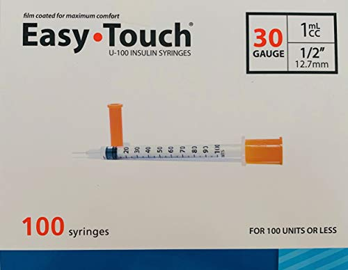 Easy Touch Syringes, 30 Gauge 1cc ½, 100 Syringes Each Box (0.5 30Gx1/2)