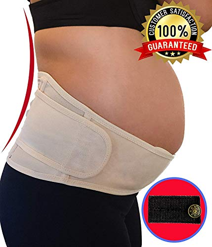 Belly Band for Pregnancy | Maternity Belt Support for Back, Pelvic, Hip, Abdomen, Sciatica Pain Relief 2nd-3rd Trimester | Comfortable Girdle for Running, Walking, Sitting (BEIGE) (Best Maternity Belt For Running)