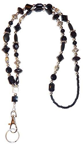 "SLIM Style Fashion Women's Beaded Lanyard 34"", Breakaway and Non breakaway available, For Keys, Badge Holder (Slim Black - NON Breakaway (Stronger))"