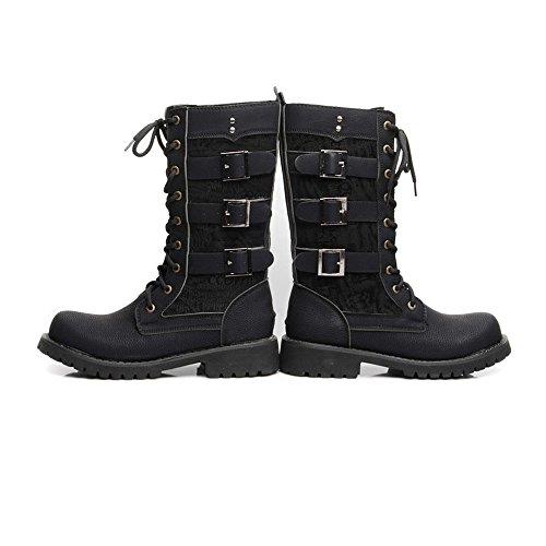 Best Choise Zapatos de hombre Belt Buckle Mid Calf Combat Boots para caballeros Run A Size Más grande Al aire libre ( Color : Black , Size : 42 EU ) Black