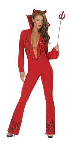 Devil Sexy Costumes Adult Jumpsuit (Nom de Plume, Inc Sexy Lycra Devil Jumpsuit Costume Set XLarge Red)