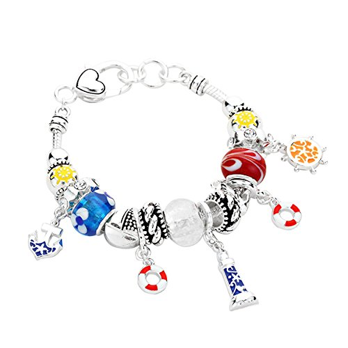 Rosemarie Collections Women's Cruise Glass Bead Charm Bracelet Nautical Anchor Lighthouse Helm