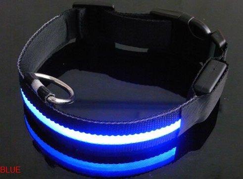 LED Dog Collar LED Pet Collar Flashing Lights (6 Colors) (Blue, Large), My Pet Supplies