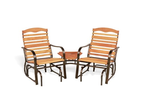 Butterfly Collection Rocking Chair - Jack Post Woodlawn WL-30Z Tete-A-Tete Glider Set with Bronze Frame