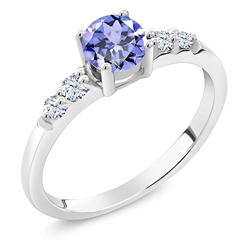 Aaa Tanzanite Jewelry - 0.63 Ct Round Blue Tanzanite White Created Sapphire 925 Sterling Silver Ring (Size 9)
