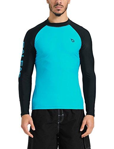 Baleaf Men's Basic Long Sleeve Rashguard UV Sun Protection Athletic Swim Shirt UPF 50+ Blue/Black Size (Long Sleeve Sun Protection)