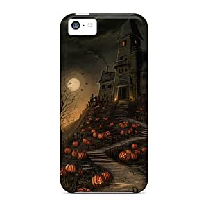 For HTC One M7 Case Cover Protector Case Halloween Haunted House Pumpkin Path Phone Cover