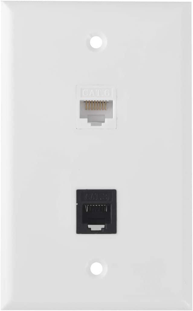 Ethernet Phone Wall Plate, 1 Port Cat 6 RJ45 Keystone and 1 Port Phone RJ11/RJ12 Cat 3 Keystone Wall Plate (2 x Screws Included)