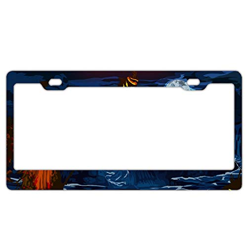 GGRGVR Holiday Halloween Guild Wars License Plate Frame,Car Decoration Accessories,Quality Sturdy Metal Aluminium Frame -