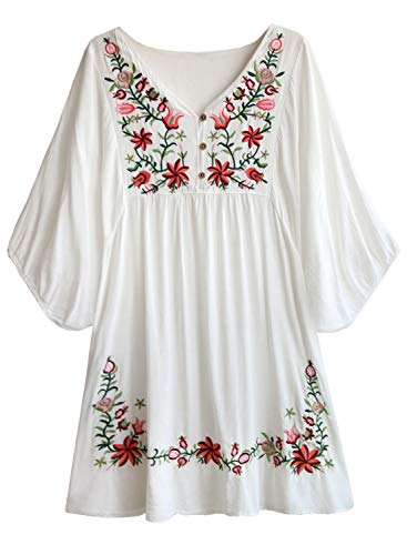 Women's Floral Embroidery Mexican Tunic Shirt Bohemian Flowy Shift Mini Blouse Top White