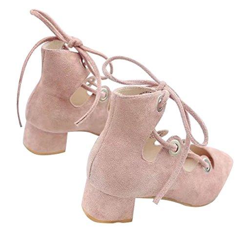 Caro Tempo Donne Blocco Tallone Gladiatore Sandalo Cinturino Alla Caviglia Pompe Chunky Tacco Rosa