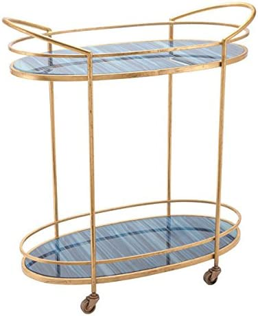 Zuo Zaphire Bar Cart, Blue Antique Gold
