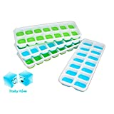 Frosty Cubes Ice Cube Trays, Silicone, Removable Lid, Easy Release, No Spill, Stacking,14 Ice Molds, Pack of 4, 2 Blue 2 Green, LFGB Certified, BPA-Free, FDA Approved Dishwasher Safe