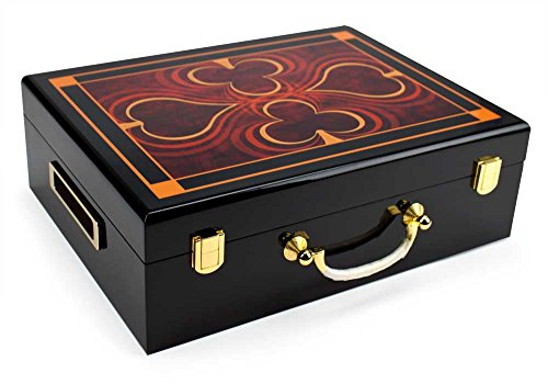 Wooden Poker Chip Case, Suit Symbol Design, High Gloss, Holds 500 Chips