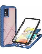 MUTOUREN Compatibel met Samsung Galaxy A71 5G Case Clear Heavy Armor Cover Shockproof Anti-Scratch Full-body Robuuste Bumper met ingebouwde Screen Protector (blauw)