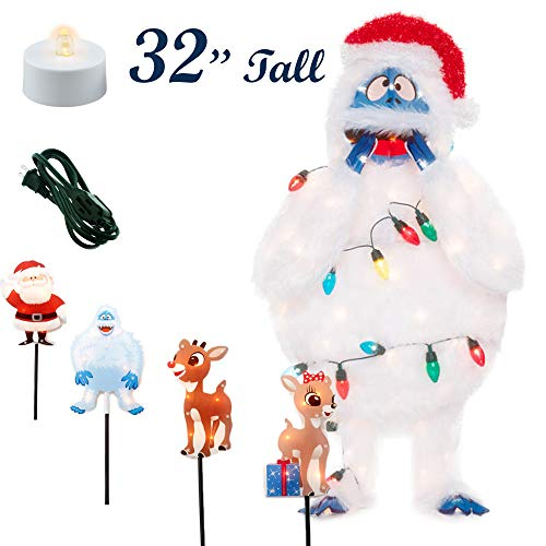 Classy Yard Abominable Bumble and Rudolph Pathway Markers Lighted Lawn Christmas Outdoor Decorations - 32