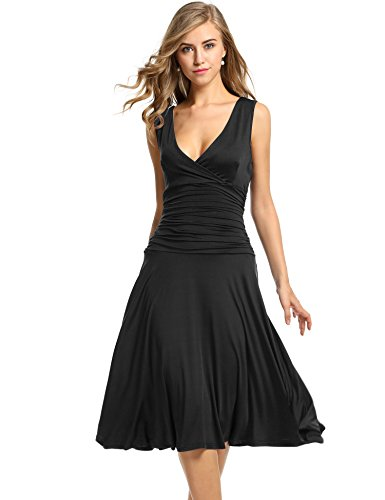 Beyove Women's Slimming Sleeveless V Neck Fit-and-Flare Tummy Control Dresses (Black,S)