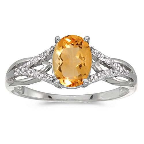 - FB Jewels 10k White Gold Genuine Birthstone Solitaire Oval Citrine And Diamond Wedding Engagement Statement Ring - Size 5.5 (1.07 Cttw.)